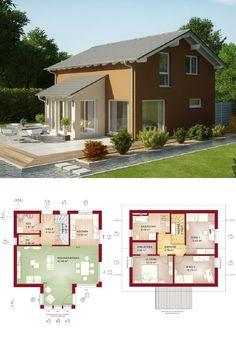 Einfamilienhaus Satteldach modern mit Erker Anbau - Grundriss Haus Evolution 125 V5 Bien Zenker Fertighaus - HausbauDirekt.de