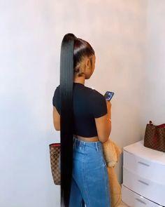 Hair Ponytail Styles, Black Girl Braided Hairstyles, Dope Hairstyles, Sleek Ponytail, Hairstyle Ideas, Birthday Hair, Hair Laid, Rose Hair, Human Hair Wigs