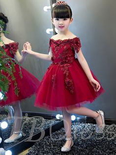 Off The Shoulder Short Sleeves Appliques Knee Length Flower Girl Party Dress - Cute Dresses Girls Dresses Online, Gowns For Girls, Frocks For Girls, Kids Frocks, Girls Party Dress, Little Girl Dresses, Dress Online, Flower Girls, Cute Flower Girl Dresses