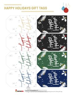 """Free printable gift tags for Christmas. The tags include the text """"Happy Holidays."""" Download them at https://christmasowl.com/download/gift-tags/happy-holidays/"""