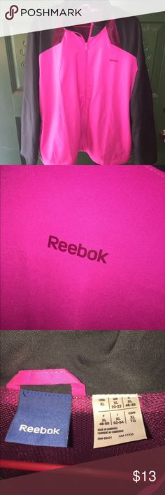 Hot pink and black Reebok jacket This lightweight Reebok jacket is perfect for the cooler fall weather that's just around the corner. Reebok Jackets & Coats Utility Jackets