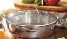 """Princess Heritage® Stainless Steel Classic 12"""" Straining Skillet. Two pouring spouts and a straining lid make it easy to drain browned meat so you can streamline meals by cooking your meat, veggies and sauce all in this pan. LIFETIME WARRANTY! LINDABRADLEY@MYPRINCESSHOUSE.COM  we ship anywhere in U.S."""