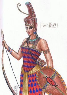 Neith -Egyptian goddess of war. She was also associated with weaving and was considered the weaver of men's fates.