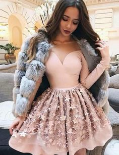 Stylish A Line Jewel Long Sleeves Pink Short Homecoming Dress with Appliques - Party Outfits Dama Dresses, Hoco Dresses, Cute Dresses, Beautiful Dresses, Evening Dresses, Formal Dresses, Mini Dresses, Awesome Dresses, Quinceanera Guest Dresses