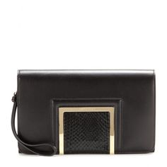 "Jimmy Choo - Alara leather clutch - Jimmy Choo's ""Alara"" clutch, with its black leather and snakeskin finish, lends an exotic note to your outfit. Slip it in your day bag and have it ready for those after-work cocktails. seen @ www.mytheresa.com"