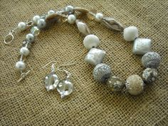 Beige Necklace and Earrings Set - Jesse James Beaded Jewelry - Jewelry Set by Earmarksdesigns on Etsy