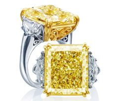 JB Star platinum fancy yellow 17.25 ct. diamond ring