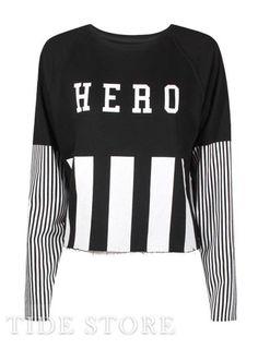 Vogue Preppy Style Long Sleeves Letters Print Striped Short T-shirt Short T Shirt, Latest Fashion For Women, Womens Fashion, Venus Swimwear, Mix And Match Bikini, Vogue, Striped Shorts, Preppy Style, Cheap Dresses
