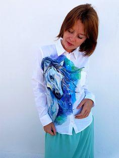 Handpainted  unique shirt art buttons down shirt by Dariacreative