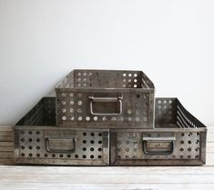 Vintage Industrial Metal Perforated Drawers  Salvaged from an old pharmaceutical company. drawers have a lovely patina and shows signs of age, including rust, scratches,  dents, etc. equipped with a handle on each end. perfect for use as a serving tray, magazine holder, or use it in the bathroom to store jars/bottles!  Drawers measure 23 inches long by 12 inches wide and 5 inches deep.  www.inbrook.com