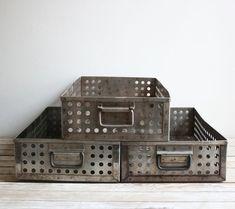 Vintage Industrial Metal Perforated Drawers