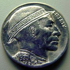 Leroy Two Hawks - Scroll Man Hobo Nickel, Hawks, Coins, Carving, Personalized Items, Peregrine, Rooms, Wood Carvings, Sculptures