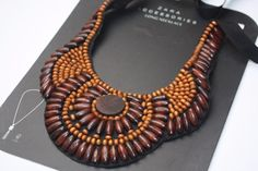 ZARA WOOD AFRICAN AZTEC BOHO ETHNIC STATEMENT NECKLACE #Zara #Collar