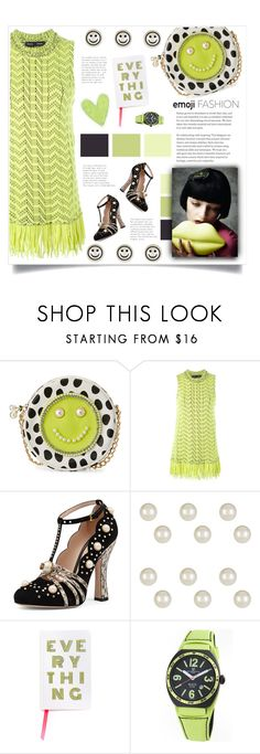 """""""emoji style :]"""" by mmk2k ❤ liked on Polyvore featuring Betsey Johnson, Proenza Schouler, Gucci, ban.do, Montres de Luxe, emoji and emojifashion"""