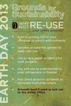 Be creative with used coffee grounds. How to re-use your coffee grounds for sustainability. Uses For Coffee Grounds, Coffee Uses, Coffee Coffee, Organic Container Gardening, Helpful Hints, Handy Tips, Reuse, Upcycle, D Craft