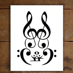 Rabbit Music Art Print, available in 5x7, 8x10, 11x14, starting at $12