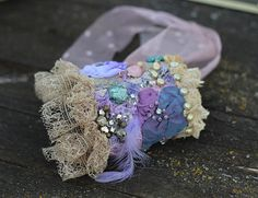 Purple orchids-- shabby chic bohemian wrist wrap with antique lace and beading