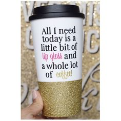 All I Need Is Lipgloss and Coffee Glitter Travel Mug Lipgloss Junkie... (32 NZD) ❤ liked on Polyvore featuring home, kitchen & dining, drink & barware, gold, home & living, coffee jar, colored jars, lidded jar, glitter jar and colored plastic jars