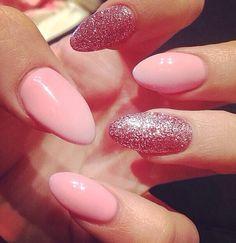 Pink glitter stiletto nails