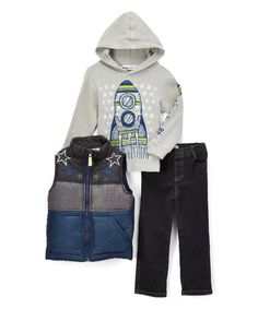 Blue Star Zip-Front Vest Set - Infant, Toddler & Boys #zulily #zulilyfinds