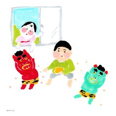 n1701h@gmail.com Japanese Illustration, Cute Illustration, People Illustrations, Sketchbook Inspiration, Drawing For Kids, Arts And Crafts, Drawings, Pictures, Illustrations