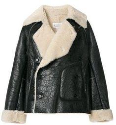 Maison Margiela Men's Black Leather Outerwear Jacket.