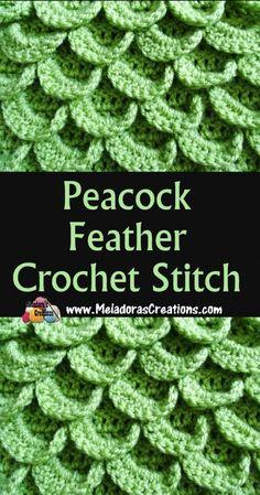 Warm Crochet Stitch – Peacock Feather Crochet Stitch – Free Crochet Stitch Pattern – Meladora's Creations Peacock Feather Crochet Stitch Tutorial Crochet Afghans, Crochet Stitches Free, Crochet Gratis, Crochet Motifs, Tunisian Crochet, Free Crochet, Crochet Patterns, Crochet Feathers Free Pattern, Crochet Crocodile Stitch