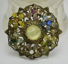 Neiger Multi-coloured Enamelled FLOWERS & Moonglow Glass WREATH BROOCH -- Czech
