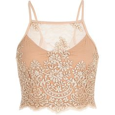 Nude pink embroidered lattice back crop top $52.00