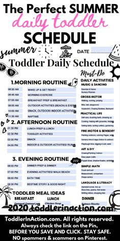 Looking for the perfect daily toddler schedule for this summer? There it is! Exactly what you need and asked for! You can download our already filled out free template or just get this easy to edit printable!  #dailytoddlerschedule #dailytoddlerroutine #toddlerroutine #toddlerschedule #stayathomeschedule #toddleractivitiesroutine #summer #editable #template #freesample