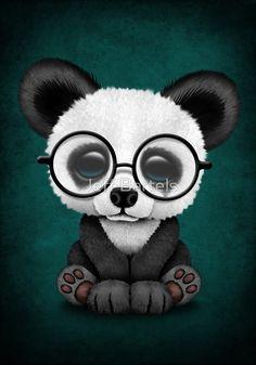 Cute Panda Bear Cub with Eye Glasses on Teal Blue | Jeff Bartels
