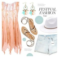 """""""Show Time: Best Festival Trend"""" by meyli-meyli ❤ liked on Polyvore featuring Gap, Surratt, hat, earrings, summerlook, festivalfashion and rosegal"""
