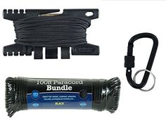 Spool Tool Paracord Tool  BLACK PLUS 100FT 55O 7 STRAND BLACK PARACORD TACTICAL BLACK LOCKING CARABINER * Check out this great product.(This is an Amazon affiliate link and I receive a commission for the sales)