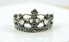 Pretty! Sterling Silver Marcasite Crown Ring ( Etsy :: http://www.etsy.com/listing/99440886/sterling-silver-marcasite-crown-ring )