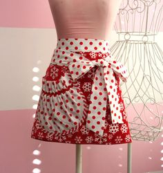 Red and White Snowflake Apron