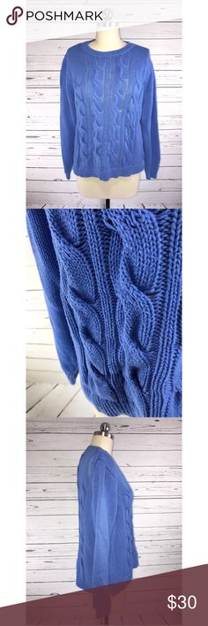 J Crew Cable Knit Blue Cotton Sweater Sz M J Crew chunky blue cable knit cotton blend sweater. Women's size medium  Please note: Some pilling  Measurements (taken with garment laying flat):  Hem width: 20 inches  Armpit-to-armpit: 19 inches  Shoulder to hem length: 20 inches  Sleeve length: 22.5 inches   Mannequin on display is a size 4. J. Crew Sweaters Crew & Scoop Necks