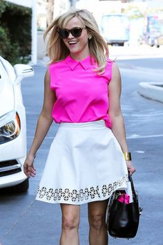 Love this bold, preppy style & the laser cut details on the skirt! (Reese Witherspoon)