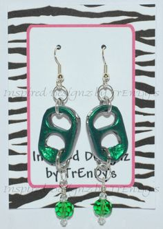 Upcycled Soda Pop Aluminum Can Pull Tab Emerald Green Dangling Earrings by InspiredDesignzByJK