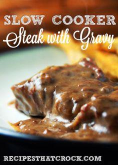 Slow Cooker Steak with Gravy ~ crockpot recipes #Crockpot #SlowCooker #RecipesThatCrock