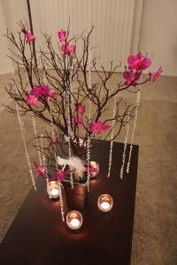 manzanita branch centerpieces with draped jewels