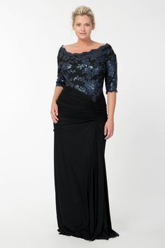 Sequin Lace Asymmetric Gown in Prussian Blue / Black | Tadashi Shoji Fall / Holiday Plus Size Collection