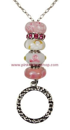 Pink Ribbon Beaded Add-A-Bead Eyeglass Holder