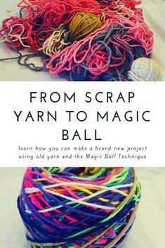 Learn how you can make brand new projects with old yarn by repurposing them into a Magic Ball # scrap yarn crochet projects From Scrap Yarn to Magic Ball Scrap Yarn Crochet, Knit Or Crochet, Crochet Crafts, Yarn Crafts, Crochet Humor, Crochet Mandala, Tunisian Crochet, Crochet Afghans, Crochet Blankets