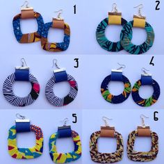 African print and leather Earrings