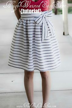 A gathered A-line skirt with tie sash. This website includes a tutorial on how to cut your fabric into workable rectangle pieces, and features a step by step picture guide on how to sew the skirt.