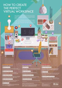 Productivity levels go beyond the desk, especially for those who don't have a physical desk. Here's how to keep your virtual desk in tip top shape. Home Office Storage, Home Office Setup, Home Office Design, Office Organization, Office Ideas, Feng Shui Office, Clear Desk, Home Office Accessories, Home Additions