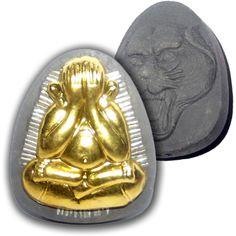 Pra Pid Ta Pokasap Sacred Powder Amulet with Sacred Brass Image and 56 Solid Silver Takrut Spells by Luang Por Supoj of Wat Huang Pattana | $135.00