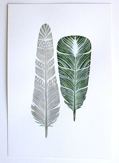Feathers Watercolor Art Painting - Modern Home Decor - Archival Print - 8x10 Dharma Feathers. $20.00, via Etsy.
