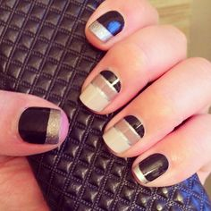 black and silver nails  Date Night and Little Black Dress  Buy3Get1 http://rachelotoole.jamberrynails.net/product/date-night#.VBSmXk1MvIU