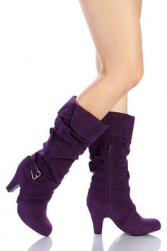 Purple boots -  my style, but I'd kill myself if I tried to wear these...without a walker!! :0